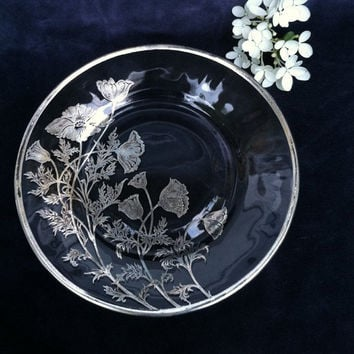 Silver Floral Glass Dish Silver City Glass Vintage Clear Glass Dessert Dish With Silver Overlay Flowers Mid Century Flanders Pattern 1960's