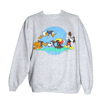 Vintage 90s Disney Mickey Mouse Football Crewneck Sweatshirt | Adult Size Large, Fits Like Medium | Donald Duck, Goofy, Pluto