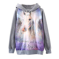 Women's Pullover Long Sleeve Horse Print Hooded Sweatshirt Gray
