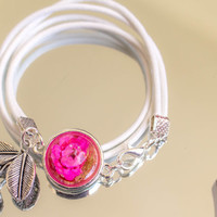 Real Flower Cabochon real Leather Bracelet, Jewelry bracelet  flower, White-rosa,  Birthday Gift