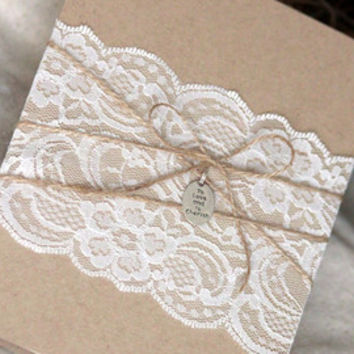 Rustic Lace Wedding Invitation, Lace Wedding Invitation, Rustic Wedding Invitation, Shabby and chic wedding invitation set
