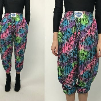 Vintage 80a s 90s Multicolor Neon Pink Green Blue Abstract High Waist Hamer Time Hip Hop Harem Pants S M