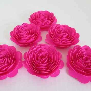 "Hot Pink Roses, 6 Fuchsia neon paper flowers, large 3"" rosettes, Unicorn theme birthday party decorations, mix and match colors, fuchsia wedding and shower decor, gift idea"