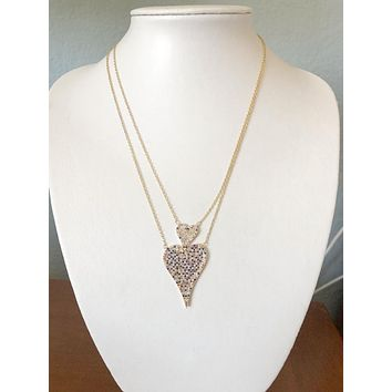 14K Yellow Gold Modern French Pave Double Diamond Heart Necklace