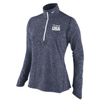 Nike Team USA Heather Navy Element Quarter-Zip Performance Jacket