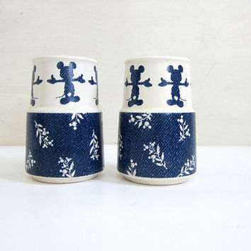 vintage Disney Mickey Mouse Blue and White Ceramic Salt & Pepper Shakers