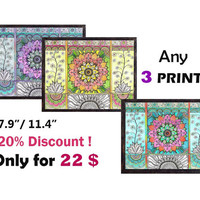 Discount Set Choose Any 3 PRINTS, Colorful Fantasy Art Prints, Yoga Zen Art Psychedelic Trippy Art, Boho Wall decor Prints Living room decor