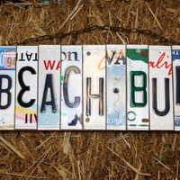 Recycled. Beach. License Plate. Room Decor. Sign. Wall hanging. Custom Name. Handmade.Family name. door hanging.