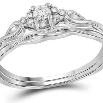 14k White Gold Round Diamond Infinity Weave Woven Promise Bridal Engagement Ring Band Set 1/6 Cttw