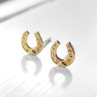 Horseshoe Earring Studs,Horseshoe Jewelry,Golden Brass Post Earrings,Tiny Stud Earrings,Horse Jewelry,Good Luck Charm,Sterling Silver Studs