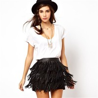 High Waist Fringe Faux Leather Mini Skirt