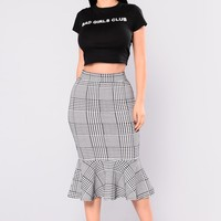 Westbury Herring Bone Midi Skirt - Black/White