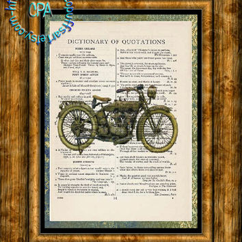 1910 Harley Motorcycle - HDR & Graphic Art - 2 Print Special - Vintage Dictionary Page Art Print Upcycled Page Print