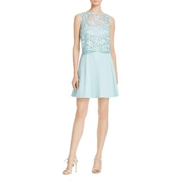 Aidan by Aidan Mattox Womens Lace Popover Party Dress