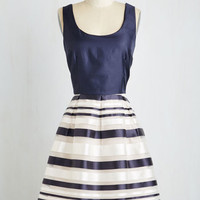 Nautical Mid-length Sleeveless Fit & Flare Exceptional to the Rule Dress