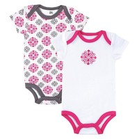 Yoga Sprout™ Newborn Girls' 2 Pack Bodysuit - Grey/Pink