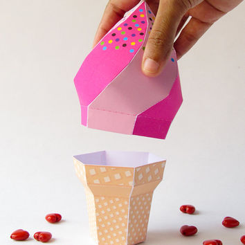 DIY Strawberry icecream soft serve waffle cone –Printable template/ Party décor centerpiece 3D Candy treat favor box/ Instant download craft