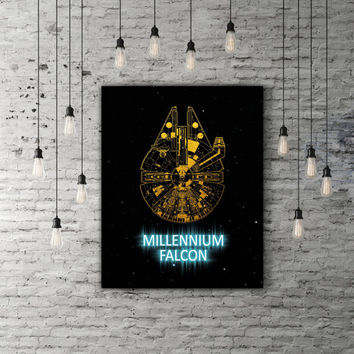 Millennium Falcon Star Wars Artwork, Spaceship Millenium Falcon Art, Star Wars Office Decor Gold And Blue Artwork, Spacecraft Galaxy Print