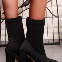 New Women Black Point Toe Stiletto Casual Mid-Calf Boots