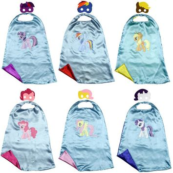 Kids cape+mask My little pony cloaks for kids birthday party Halloween Twilight Sparkle Rainbow Dash Apple Jack Rarity