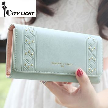 2016 new arrival fashion PU leather three fold women wallets simple  personality rivet lady long design wallet purse