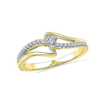 10kt Yellow Gold Women's Round Diamond Solitaire Promise Bridal Ring 1/6 Cttw - FREE Shipping (US/CAN)