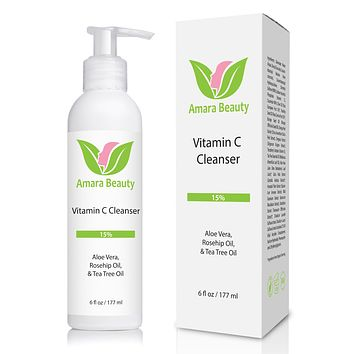 Vitamin C Facial Cleanser 15% With Rosehip Oil & Tea Tree Oil - 6 oz