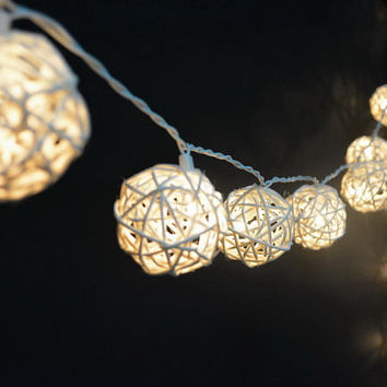 20 White Rattan Ball lights Night Decor Light Fairy Patio Party Bedroom Living Room Docor Patio lights Fairy home christmas night Decor