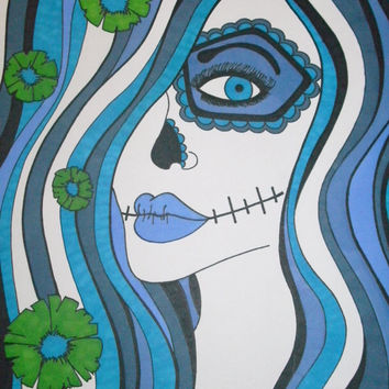 8x10 Print Blue Sugar Skull Girl Lustre Original Gift Idea Wall Decor Day of the Dead Art Dia De Los Muertos Green Flowers Alternative