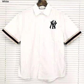 MLB 2019 New NY Embroidered Cuff Ribbon Splicing Short Sleeve Shirt White