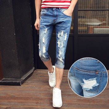 Summer Korean Men Slim Stretch Denim Pants Jeans [6528727363]