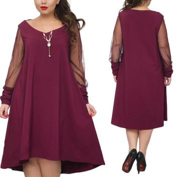 sheer trapeze plus size dress long Sleeve shift casual womens Clothing purple black green