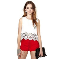 White Tank Top with Floral Hem