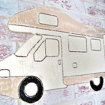 Customized name on RV Camper Camping Motorhome welcome sign - large 24x12 hand cut wood shaped RV sign, For dad huband personalized name