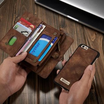 14 Slots Zipper Wallet with Removable Back Cover Leather Case for Apple iPhone 6 6S Hand Sewing Magnetic Purse Brand Original