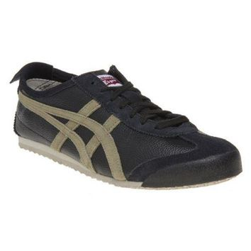 New Mens Onitsuka Tiger Black Mexico 66 Leather Trainers Retro Lace Up