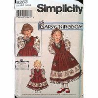 Childs Dress Pinafore Doll Clothes Simplicity 8263 Pattern 1998 Size 3-6 C1163