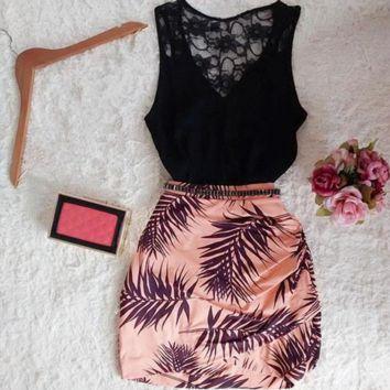 Fashion lace hollow out flowers v-neck singlet two-piece outfit