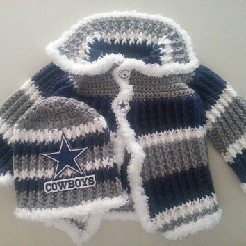Handmade Dallas Cowboys Baby Sweater and Hat Set Size 3-6 Months