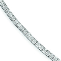 Sterling Silver Rhodium Plated CZ 7in Bracelet QG3495