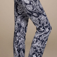 Paisley Palazzo Pants with Lace - Navy
