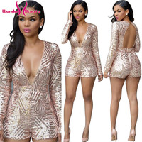 Glitter Sequins Jumpsuits Rompers Sexy Long Sleeve Deep V-Neck Backless Bodysuit Feminino Mono Mujer