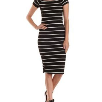 Black Combo Striped Off-the-Shoulder Midi Dress by Charlotte Russe