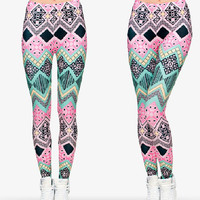 Pink Blue Floral Aztec Tribal Pattern Leggings- Yoga Leggings - Yoga Tights - Workout Leggings - Art Leggings - Running Leggings
