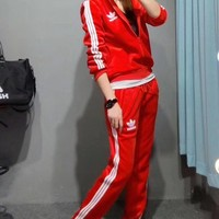 """Adidas"" Women Casual Fashion Velvet Stripe Letter Long Sleeve Zip Cardigan Hooded Sweater Trousers Set Two-Piece Sportswear"
