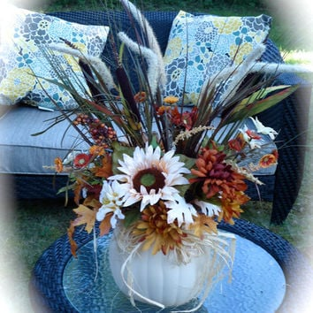 Fall Sunflower Pumpkin Floral Arrangement, Cream Pumpkin and Sunflower Centerpiece,