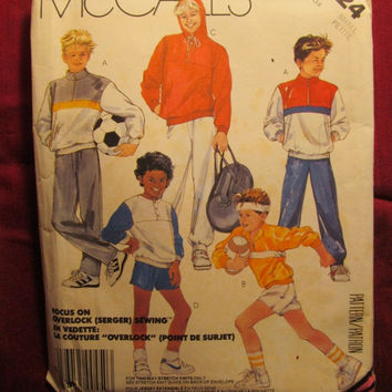 SALE Uncut 1980's McCall's Sewing Pattern, 2724! Small/Petite/Kids/Child/Boys/Pullover Tops/hoodies/Hooded Sweat Shirts/Stretch Knits/Sweat