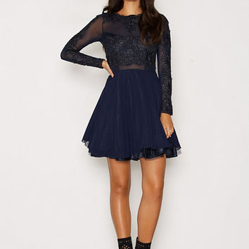 L/S Lace Skater Dress, Ax Paris