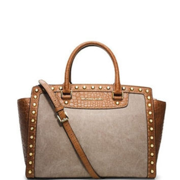 Michael Michael Kors Large Selma Canvas Pickstitch Studded Satchel
