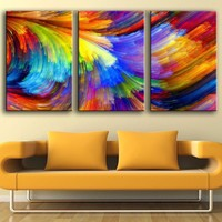 CHENFART 3 Pieces Canvas Painting Abstract Pattern Wall Art Pictures For Living Room Home Decor No Frame
